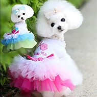 Blue/Pink Cotton Lips Yarn Skirt Dresses For Dogs