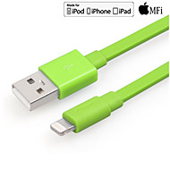 Yellowknife mfi lyn 8-pin til usb 2.0 opladning sync data fladt kabel til iphone 7 6s 6 plus grønne 100cm
