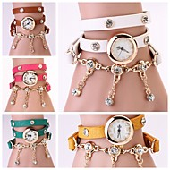 Women Vintage Leather Strap Watches,Set Auger Rivet Bracelet Women Dress Watches(Assorted Colors)