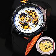 μηχανικό ρολόι Αυτόματο κούρδισμα Γνήσιο δέρμα Μπάντα Μαύρο/Άσπρο Μαύρο Καφέ/Άσπρο