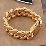 Γυναικεία Ανδρικά Για Ζευγάρια Βραχιόλια με Αλυσίδα & Κούμπωμα Κλασσικά κοσμήματα πολυτελείας Χρυσό Τιτάνιο Ατσάλι Επιχρυσωμένο Κοσμήματα
