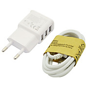 2A EU Three USB Mobile Phone Charger + Samsung S4 data lines For Samsung