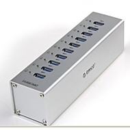 Orico a3h10 10 portas USB 3.0 de alta velocidade hub w / switch / led / us ligue adaptador de energia