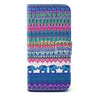 Til Samsung Galaxy etui Etuier Pung Kortholder Med stativ Heldækkende Etui Elefant Hårdt Kunstlæder for Samsung S6 edge S6 S5 Mini S5 S4