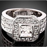 ステートメントリング クリスタル キュービックジルコニア 模造ダイヤモンド 合金 ファッション ゴールド シルバー ジュエリー パーティー 1個