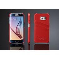 Mert Samsung Galaxy tok Kártyatartó Case Hátlap Case Egyszínű Valódi bőr Samsung S7 edge / S7 / S6 edge / S6 / S5