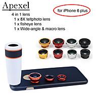 apexel 4 en 1 kit de la lente 8x lente blanco telescopio + lente ojo de pez + gran angular de lente de la cámara + macro con el caso para