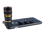 Apexel 4 in 1 Lens Kit 8X Telephoto Lens +Wide-angle+Macro Lens +Fisheye Lens with Back Case for iPhone 6 Plus