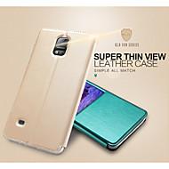 Til Samsung Galaxy Note med stativ med vindu Flipp Etui Heldekkende Etui Ensfarget PU-lær til Samsung Note 4