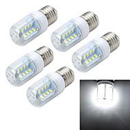 5pcs E27 6W 600LM 6500K/3000K Cross Board 32-5730 SMD Warm/Cool White Light LED Corn Bulb (AC 220~240V)