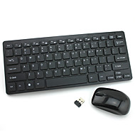 HK-03 USB 2.4G Mini Wireless Keyboard +1000DPI Mouse Set - Black / White (3 x AAA)