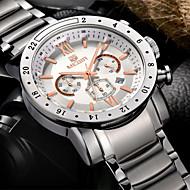 megir®24 timer sportsklokke virksomhet klokker full steel kjole armbåndsur mote tilfeldige menn klokke (assorterte farger)