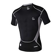 T-skjorte ( أبيض/أسود/أخضر فاتح/البرتقالي ) - للجنسين - متنفس/سريع جاف/wicking/ضغط - أخضر كم قصير الربيع/الصيف عالية المرونة