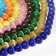 Beadia 120Pcs Fashion 6mm Round Glass Cat Eye Beads 9 Colors To Choose(Random Color)