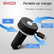 Exco bärbara mini micro usb utdragbar kabel billaddare för iPhone / iPad / iPod (5v 2.1a)