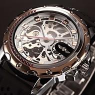 WINNER Męskie zegarek mechaniczny Zegarek na nadgarstek Nakręcanie automatyczne Grawerowane Silikon Pasmo Ekskluzywne CzarnyGolden Różowe