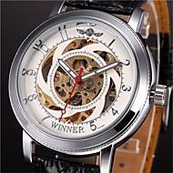 WINNER 남성 기계식 시계 손목 시계 중공 판화 오토메틱 셀프-윈딩 PU 밴드 블랙