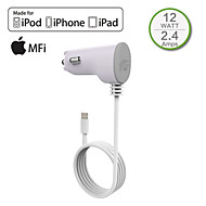 HXINH MFi certified Captive Lightning wire 2.4A In Car Charger for iPhone 6/Plus,iPhone 5/5s/5c, iPad 4 Air/2 mini/2/3