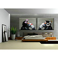 Pintada a mano Pop / AnimalTradicional / Clásico Dos Paneles Lienzos Pintura al óleo pintada a colgar For Decoración hogareña