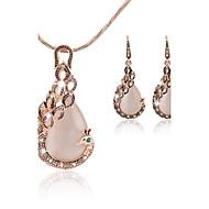 Damen Schmuckset Tropfen-Ohrringe Anhängerketten Elegant Brautkleidung Fest/Feiertage Modeschmuck Edelstein Diamantimitate Pfau Ohrringe