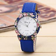 movimento semplice fiore signore adatta impresso orologio porcellana cintura circolare (colori assortiti)