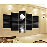 met de hand geschilderde abstracte grijze blok zeegezicht maan olieverf op doek 5pcs / set zonder lijst