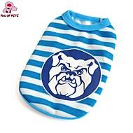 猫用品 犬用品 Tシャツ ブルー 犬用ウェア 夏 縞柄 カジュアル/普段着