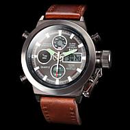 Hombre Reloj de Pulsera Cuarzo Japonés LCD / Calendario / Cronógrafo / Resistente al Agua / Dos Husos Horarios / alarma Piel Banda Marrón
