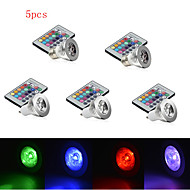 5pcs HRY® 3W E27/E14/GU10 RGB Color Changing LED Light Bulb Lamp with Remote Control(85-265V)