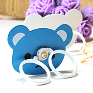 Mobile Phone Ring Blue and White Bear Pattern Metal Kicstand for Samsung