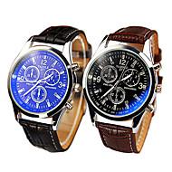 High-grade Leather Strap Three Dashboard Blue Ray Glass Casual Quartz Watch