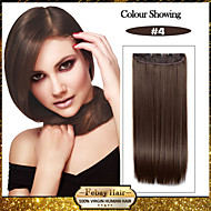 숙녀를위한 머리 연장에서 5 클립 긴 직선 갈색 합성 머리 클립