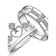 Κρίκοι Καρδιά Καθημερινά Causal Αθλητικά Κοσμήματα Ασήμι Στερλίνας Ζεύγος Δαχτυλίδια Ζευγαριού 2pcs,Ρυθμιζόμενο Ασημί
