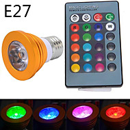 1 pcs 无 E14 / GU10 / E26/E27 5W 1 High Power LED 300 LM RGB MR16 Dimmable / Remote-Controlled LED Spotlight AC 85-265 V