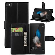 כל הגוף ארנק / מחזיק כרטיסים / עם מעמד צבע אחיד דמוי עור קשיח Case כיסוי HuaweiHuawei P8 / Huawei P8 Lite / Huawei P7 / Huawei Y550 /