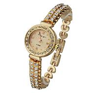 la montre mode brève cadran rond alliage quartz analogique bande de poignet de diamant des femmes (de couleurs assorties)