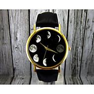 Mulheres Relógio de Moda Quartz Fase da lua Couro Banda Preta / Marrom marca-