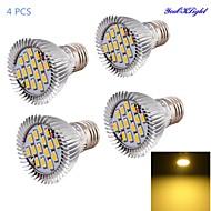 7W E26/E27 Lâmpadas de Foco de LED A50 15 SMD 5630 600 lm Branco Quente Decorativa AC 85-265 V 4 pçs