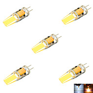 5 stuks 无 G4 6 W 2 COB 600 LM Warm wit / Koel wit MR11 Decoratief 2-pins lampen DC 12 / AC 12 / DC 24 / AC 24 V
