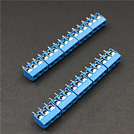 3-pins 5.0mm klemmenblokken connectoren - blauw (10-delig)