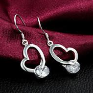 ドロップイヤリング 恋 純銀製 ジルコン ハート シルバー ジュエリー のために 結婚式 パーティー 日常 カジュアル 1セット