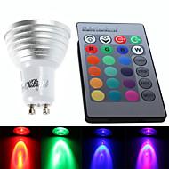 YouOKLight® 1PCS GU10 3W 1-LED Decoration Bulb Remote Lamps RGB Light 260lm - White (AC 85~265V)