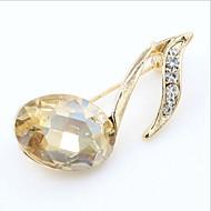 女性 ブローチ クリスタル ゴールドメッキ 模造ダイヤモンド ファッション 音楽ノート ゴールド レッド ジュエリー 結婚式 パーティー 誕生日 日常