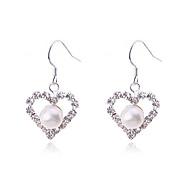 Κρεμαστά Σκουλαρίκια Μαργαριτάρι Επάργυρο απομίμηση διαμαντιών Καρδιά Μοντέρνα Heart Shape Λευκό Ανοικτό Καφέ ΚοσμήματαΠάρτι Καθημερινά