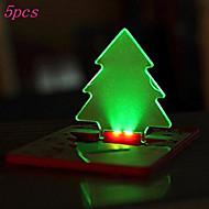 5PCS 휴대용 포켓 카드 빛 램프가 지갑 지갑에 크리스마스 트리 모양을 넣어 주도 (5 팩, ramdon 색상으로 배)