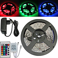 Waterproof 5M 150X5050 SMD RGB LED Strip Light and 24Key Remote Controller and 3A US EU AU UK Power Supply (AC110-240V)