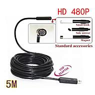 5m mini usb endoscopio 480p hd serpiente boroscopio lente de 10mm 4 liderado inspección ip67 impermeable cámara endoscopio