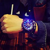 Heren Unieke creatieve horloge Polshorloge Kwarts LED Silicone Band Zwart Zwart/Rood Zwart/Wit Groen/zwart Zwart/Blauw