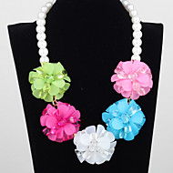 Women's southeast Asian style summer color flowers pearl necklace