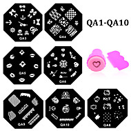 10pcs Nail Art Stamping Stamper Plates Set Nail Stamp Template Polish Design Print Mould Nail Stencil Tools (QA1-QA10)
